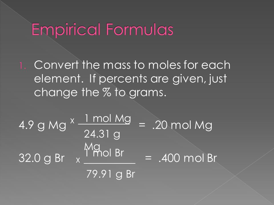 1. Convert the mass to moles for each element. If percents are given, just change the % to grams.