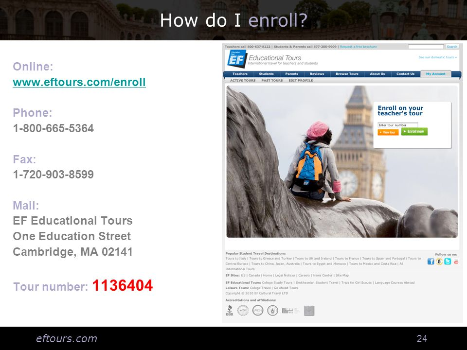 eftours.com 24 How do I enroll.