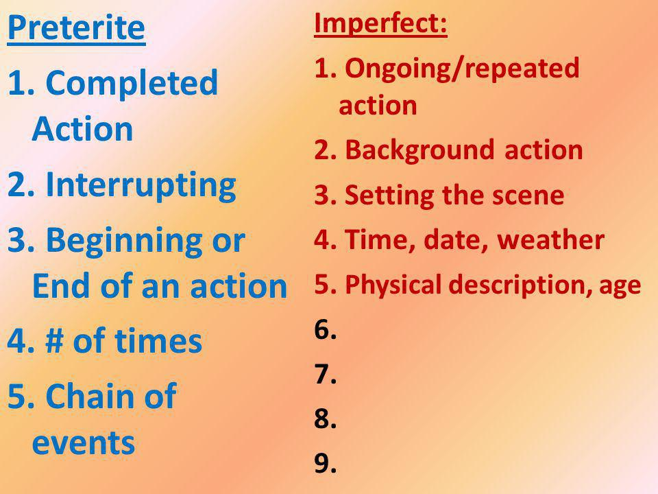 Imperfect: 1. Ongoing/repeated action 2. Background action 3.