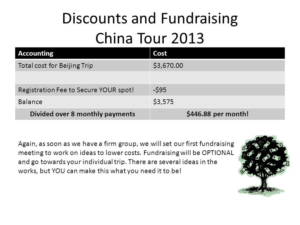 AccountingCost Total cost for Beijing Trip$3,670.00 Registration Fee to Secure YOUR spot!-$95 Balance$3,575 Divided over 8 monthly payments$446.88 per