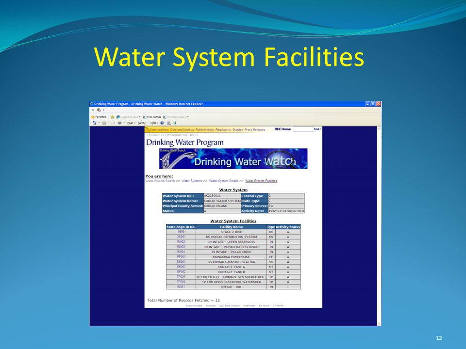 Water System Facilities 12