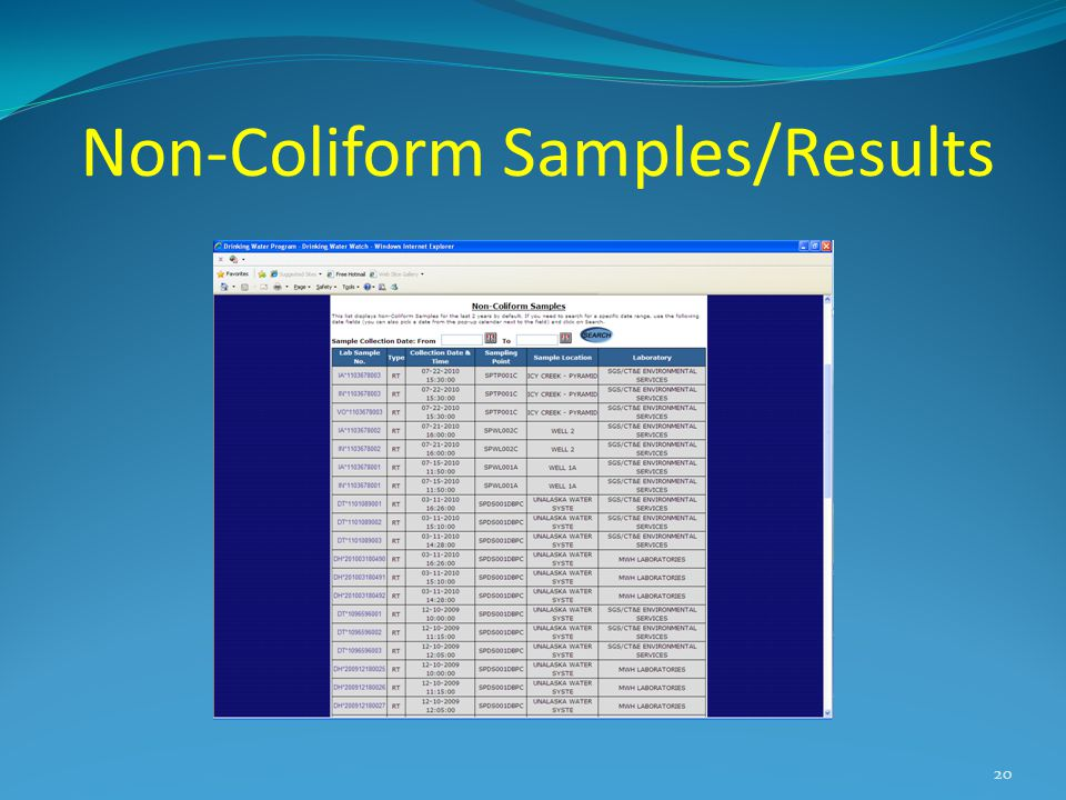 Non-Coliform Samples/Results 20