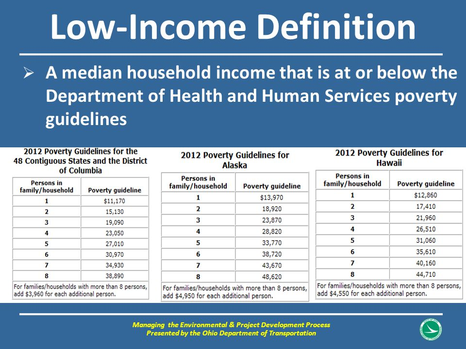 Low-Income Definition  A median household income that is at or below the Department of Health and Human Services poverty guidelines Managing the Envi