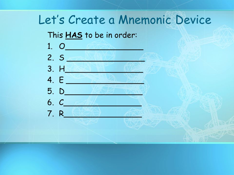 Let's Create a Mnemonic Device This HAS to be in order: 1.O________________ 2.S ________________ 3.H________________ 4.E ________________ 5.D_________