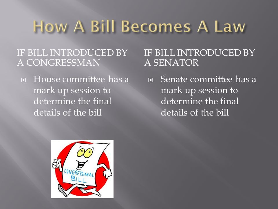 IF BILL INTRODUCED BY A CONGRESSMAN IF BILL INTRODUCED BY A SENATOR  House committee votes to determine action on bill  Senate committee votes to determine action on bill