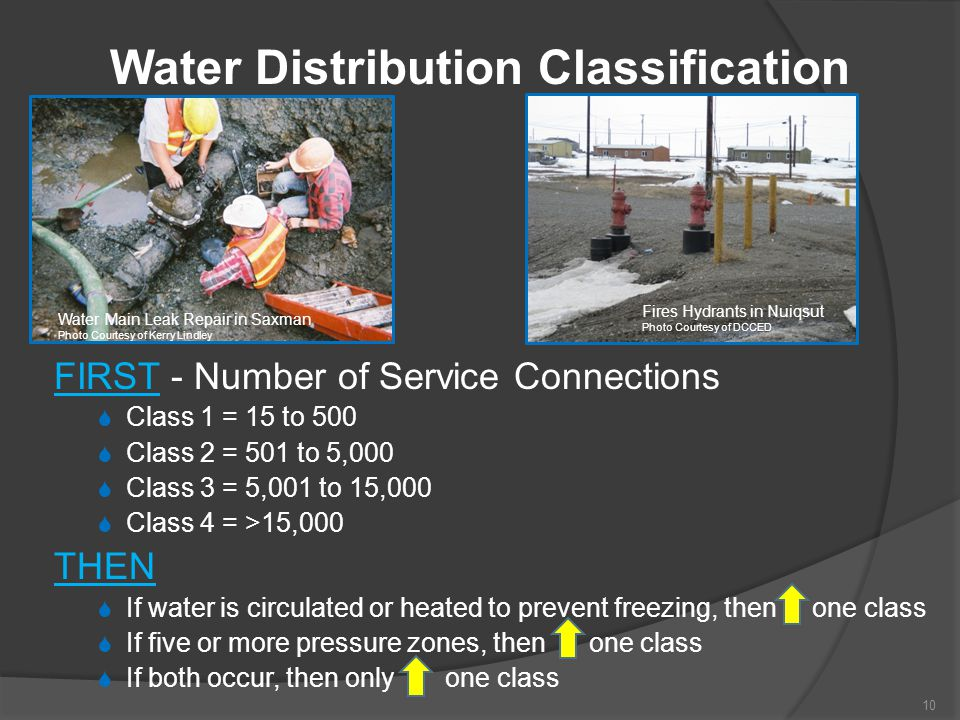 FIRST - Number of Service Connections  Class 1 = 15 to 500  Class 2 = 501 to 5,000  Class 3 = 5,001 to 15,000  Class 4 = >15,000 THEN  If water i