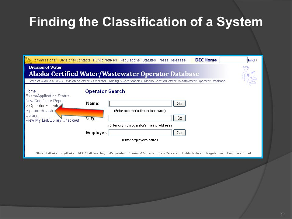 Finding the Classification of a System 12