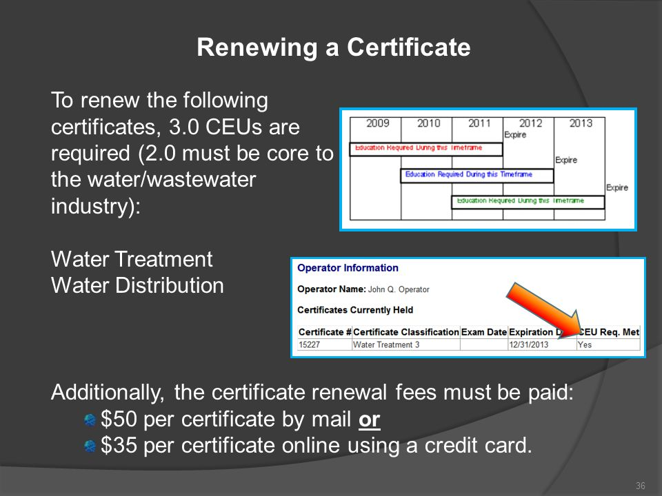 Renewing a Certificate To renew the following certificates, 3.0 CEUs are required (2.0 must be core to the water/wastewater industry): Water Treatment