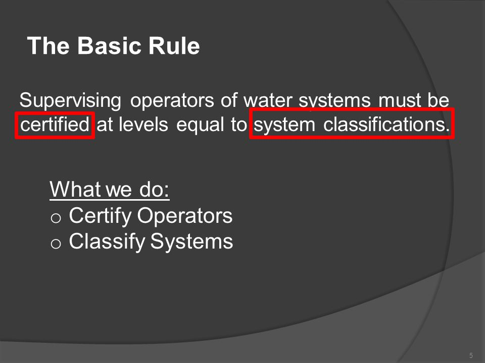 A Note about Exams ABC (Association of Boards of Certification) Water Treatment Water Distribution All ABC exams are comprised of 100 multiple choice questions.