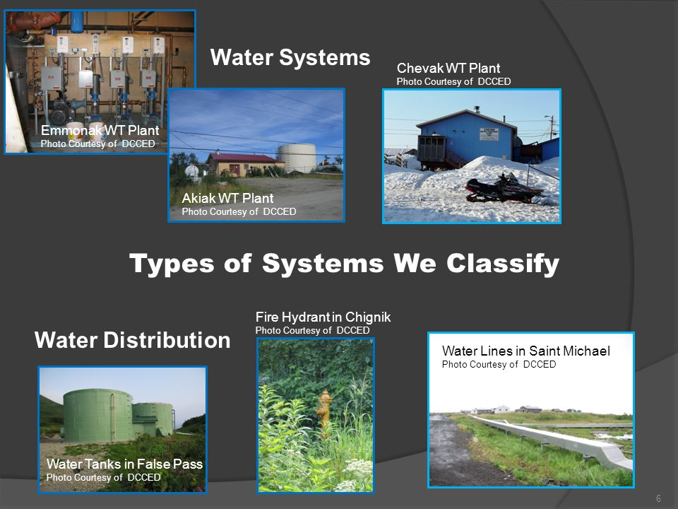 Water Systems Water Distribution Types of Systems We Classify Emmonak WT Plant Photo Courtesy of DCCED Akiak WT Plant Photo Courtesy of DCCED Water Ta
