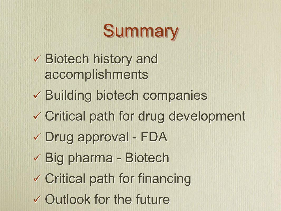 SummarySummary Biotech history and accomplishments Building biotech companies Critical path for drug development Drug approval - FDA Big pharma - Biot