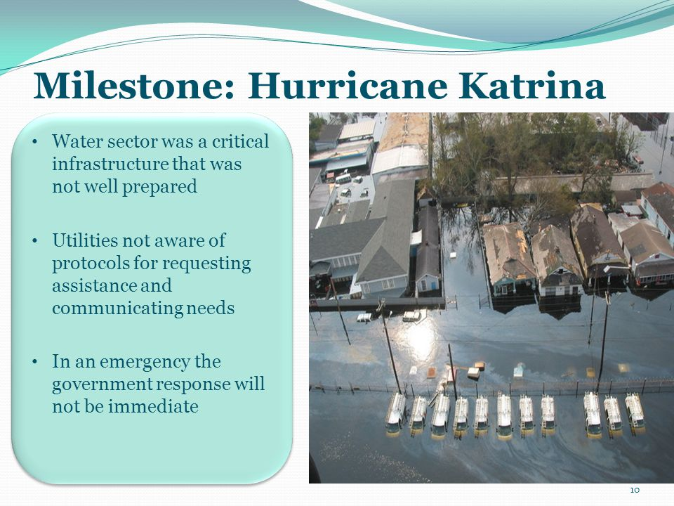 Milestone: Hurricane Katrina Water sector was a critical infrastructure that was not well prepared Utilities not aware of protocols for requesting ass