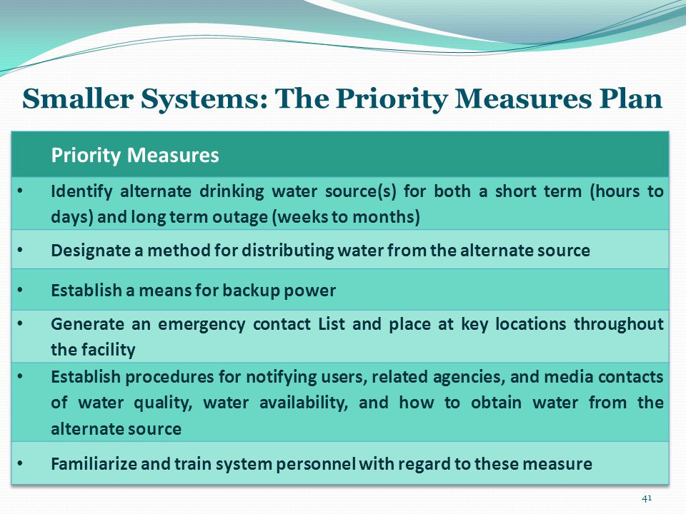 Smaller Systems: The Priority Measures Plan 41