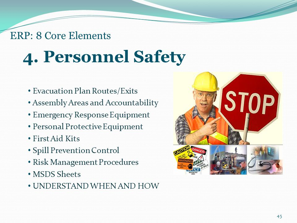 Evacuation Plan Routes/Exits Assembly Areas and Accountability Emergency Response Equipment Personal Protective Equipment First Aid Kits Spill Prevent