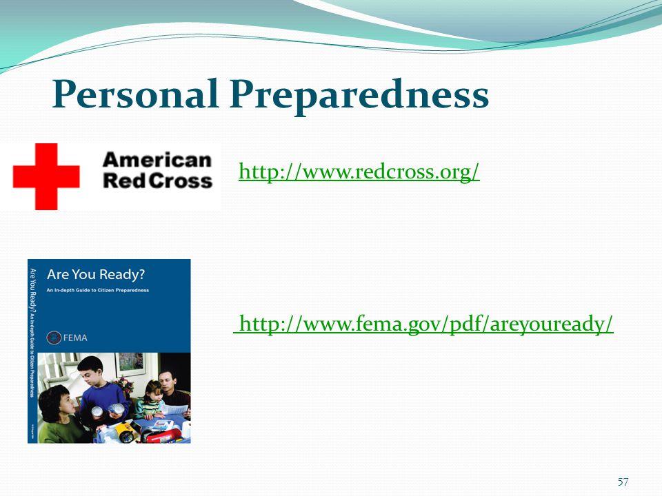 57 Personal Preparedness http://www.fema.gov/pdf/areyouready/ http://www.redcross.org/