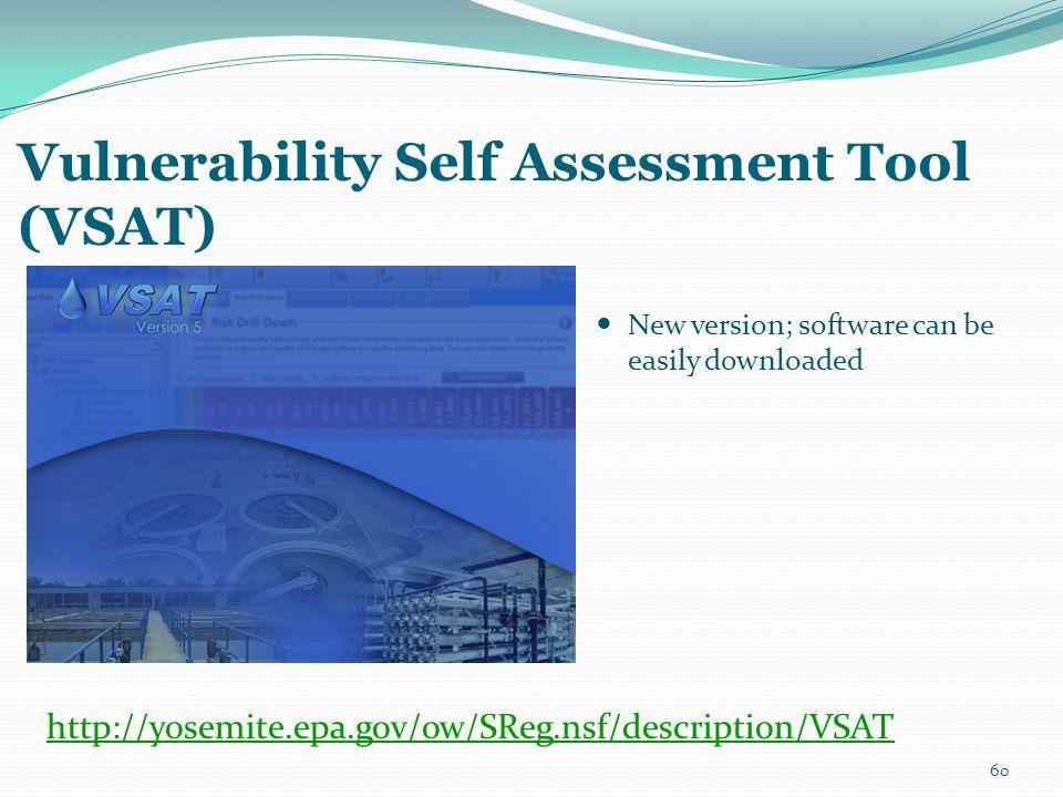 Vulnerability Self Assessment Tool (VSAT) New version; software can be easily downloaded 60 http://yosemite.epa.gov/ow/SReg.nsf/description/VSAT