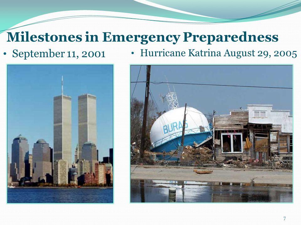 September 11, 2001 Hurricane Katrina August 29, 2005 7 Milestones in Emergency Preparedness