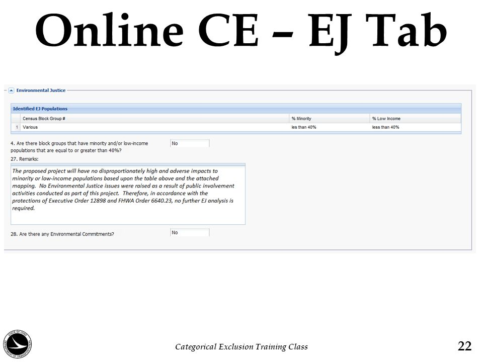 Online CE – EJ Tab Categorical Exclusion Training Class 22