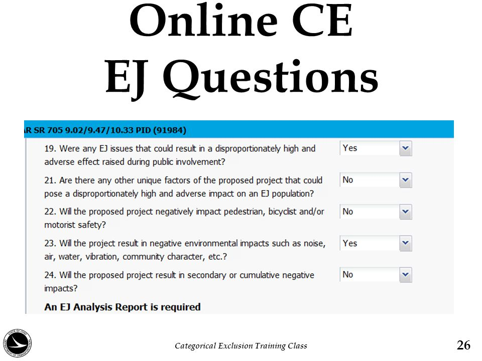 Online CE EJ Questions Categorical Exclusion Training Class 26