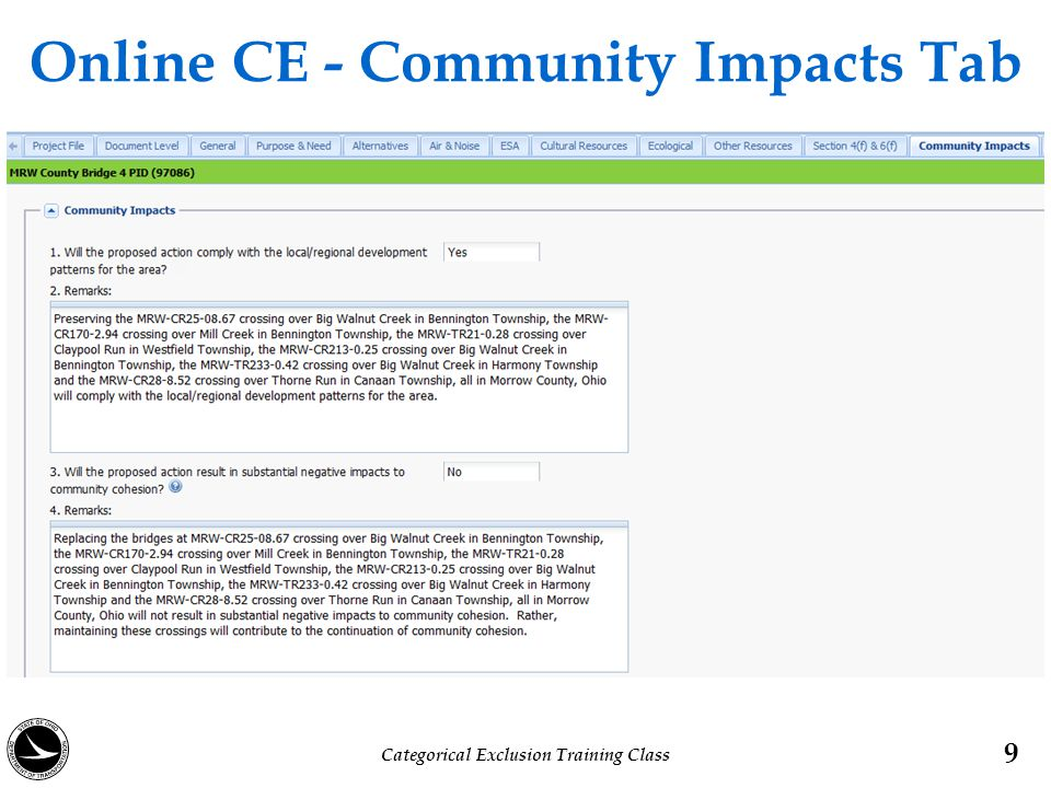 Online CE - Community Impacts Tab 9 Categorical Exclusion Training Class