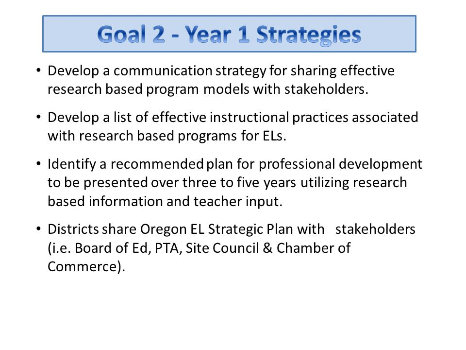Develop a communication strategy for sharing effective research based program models with stakeholders. Develop a list of effective instructional prac