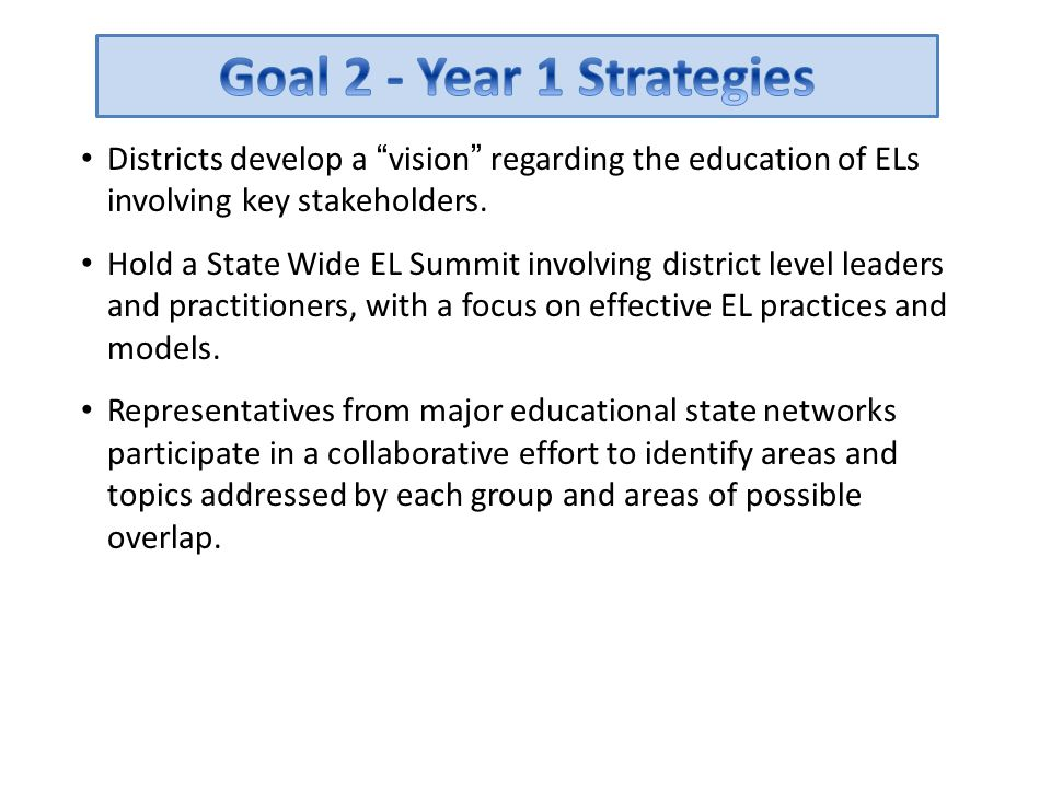 """Districts develop a """"vision"""" regarding the education of ELs involving key stakeholders. Hold a State Wide EL Summit involving district level leaders a"""