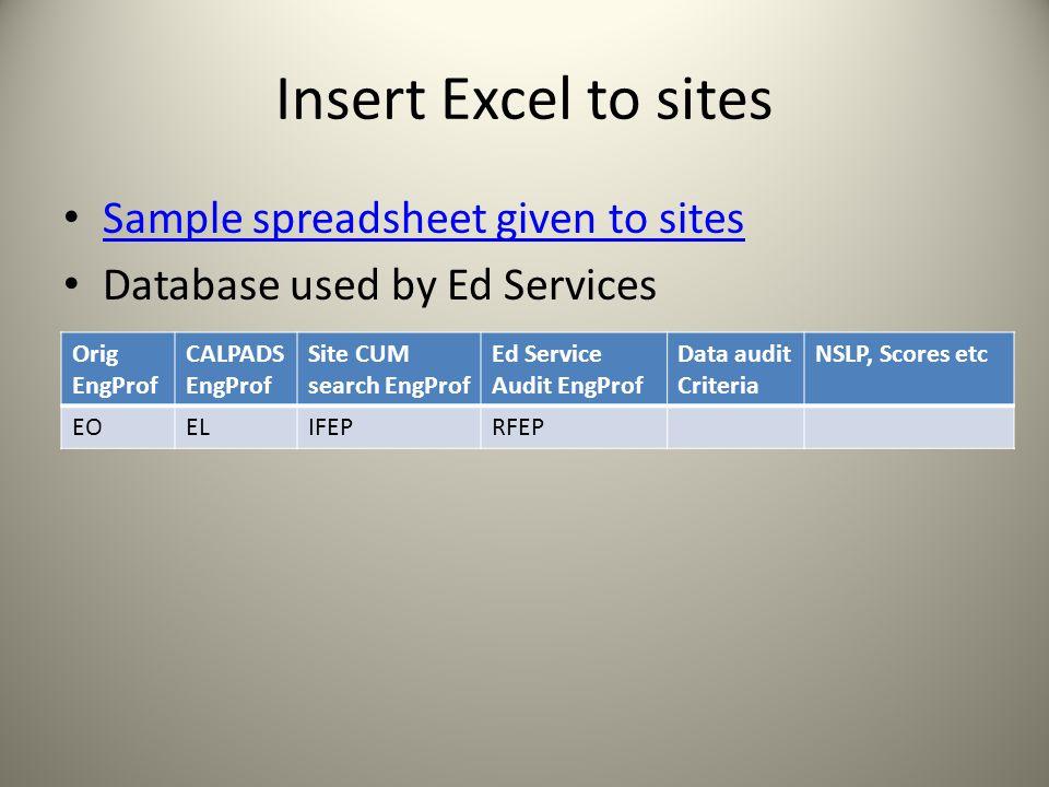 Insert Excel to sites Sample spreadsheet given to sites Database used by Ed Services Orig EngProf CALPADS EngProf Site CUM search EngProf Ed Service Audit EngProf Data audit Criteria NSLP, Scores etc EOELIFEPRFEP