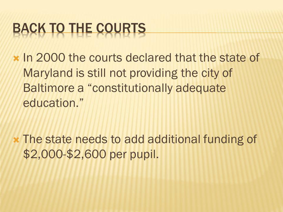  In 2000 the courts declared that the state of Maryland is still not providing the city of Baltimore a constitutionally adequate education.  The state needs to add additional funding of $2,000-$2,600 per pupil.