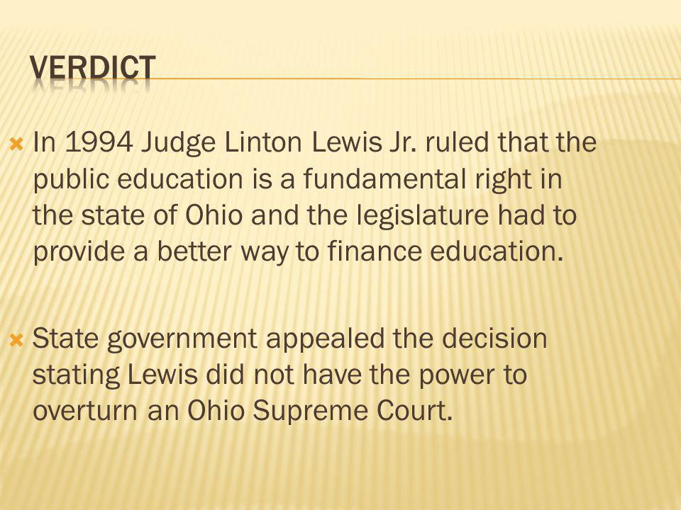  School districts filed an appeal with the Ohio Supreme Court in 1996.