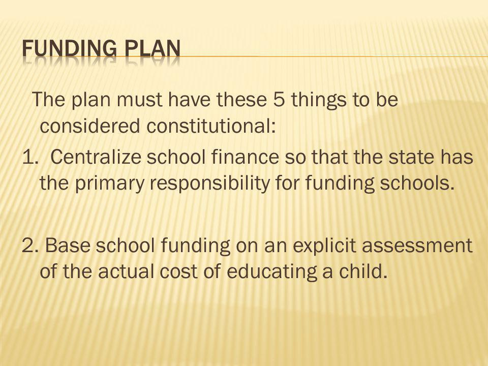 The plan must have these 5 things to be considered constitutional: 1.