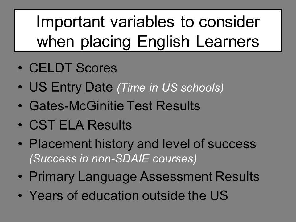 Important variables to consider when placing English Learners CELDT Scores US Entry Date (Time in US schools) Gates-McGinitie Test Results CST ELA Res