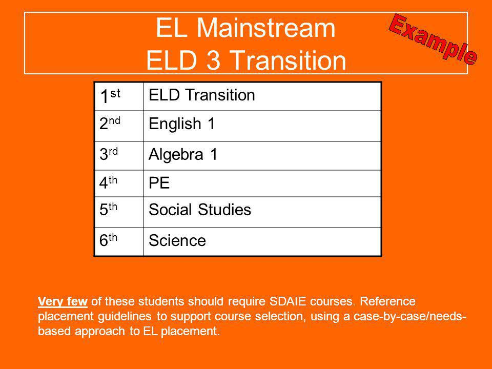 EL Mainstream ELD 3 Transition Very few of these students should require SDAIE courses. Reference placement guidelines to support course selection, us