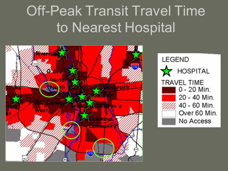 Off-Peak Transit Travel Time to Nearest Hospital