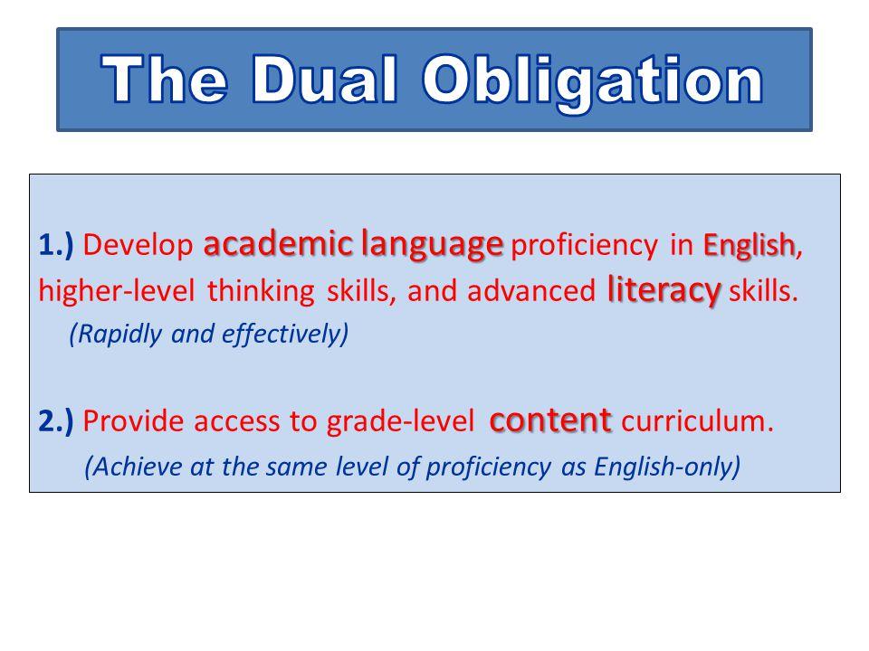 academic language English literacy 1.) Develop academic language proficiency in English, higher-level thinking skills, and advanced literacy skills.