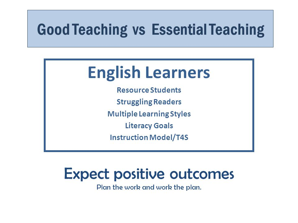 Good Teaching vs Essential Teaching English Learners Resource Students Struggling Readers Multiple Learning Styles Literacy Goals Instruction Model/T4S Expect positive outcomes Plan the work and work the plan.