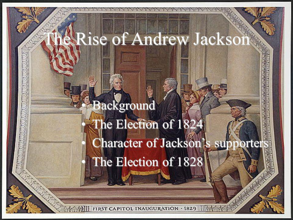 The Presidency of Jackson The InaugurationThe Inauguration The PresidentThe President –Principles –Program The CabinetThe Cabinet The spoils systemThe spoils system Jackson's program for Western and Southern farmers – Indian Removal policyJackson's program for Western and Southern farmers – Indian Removal policy