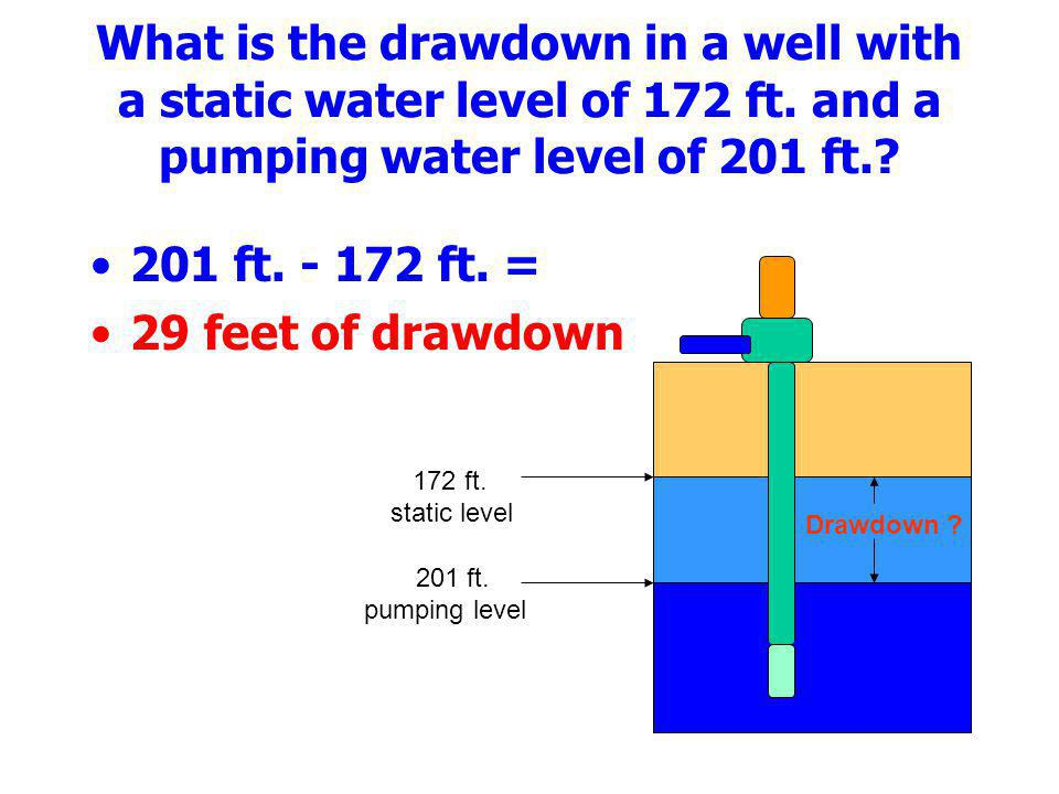 What is the drawdown in a well with a static water level of 172 ft. and a pumping water level of 201 ft.? 201 ft. - 172 ft. = 29 feet of drawdown 201