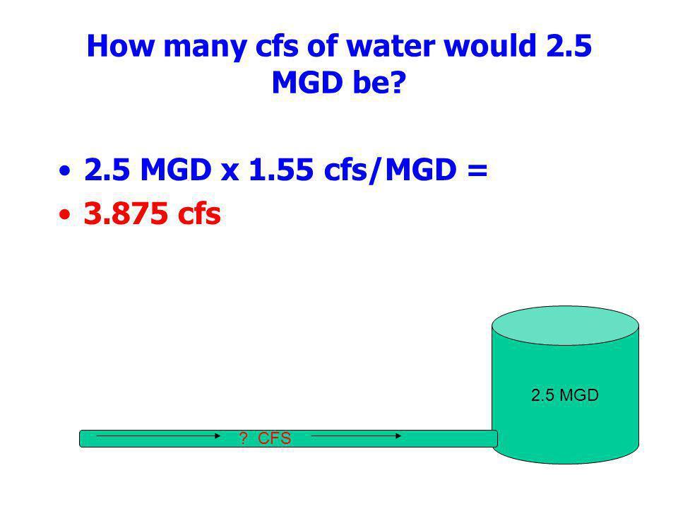 How many cfs of water would 2.5 MGD be? 2.5 MGD x 1.55 cfs/MGD = 3.875 cfs 2.5 MGD ? CFS