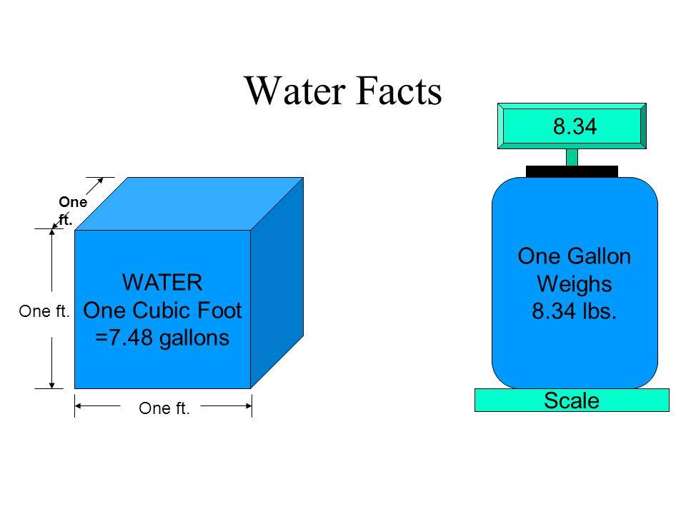 Water Facts WATER One Cubic Foot =7.48 gallons One ft. One Gallon Weighs 8.34 lbs. Scale 8.34