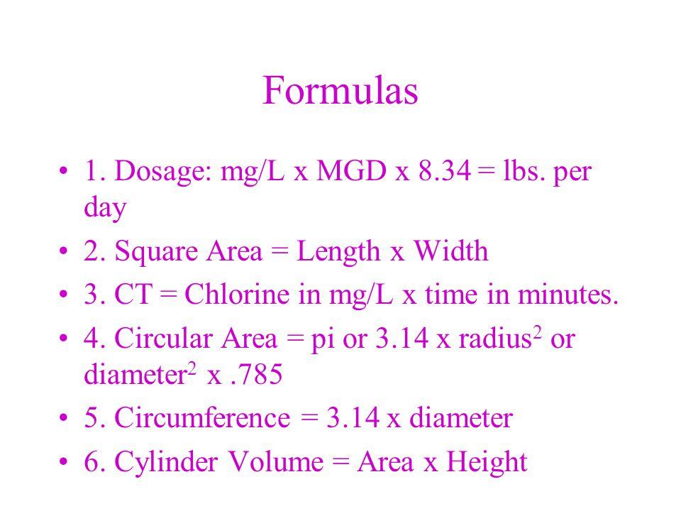 Formulas 7.Cube Volume = width x height x length 8.