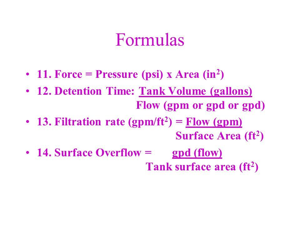 Formulas 15.Specific Capacity = Flow (gpm) Drawdown (ft) 16.