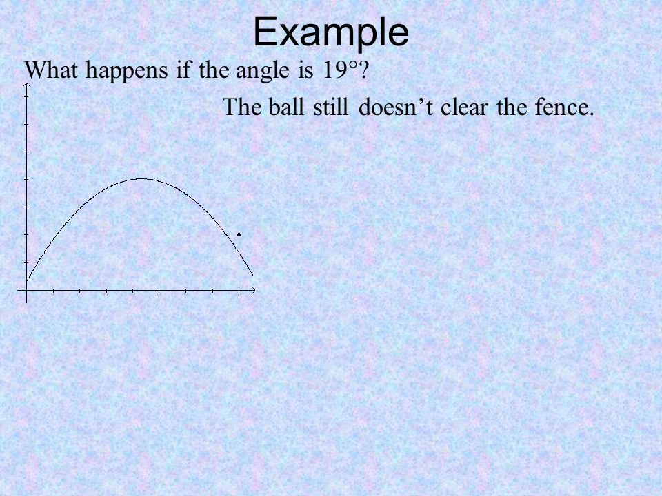 Example What happens if the angle is 19°? The ball still doesn't clear the fence.