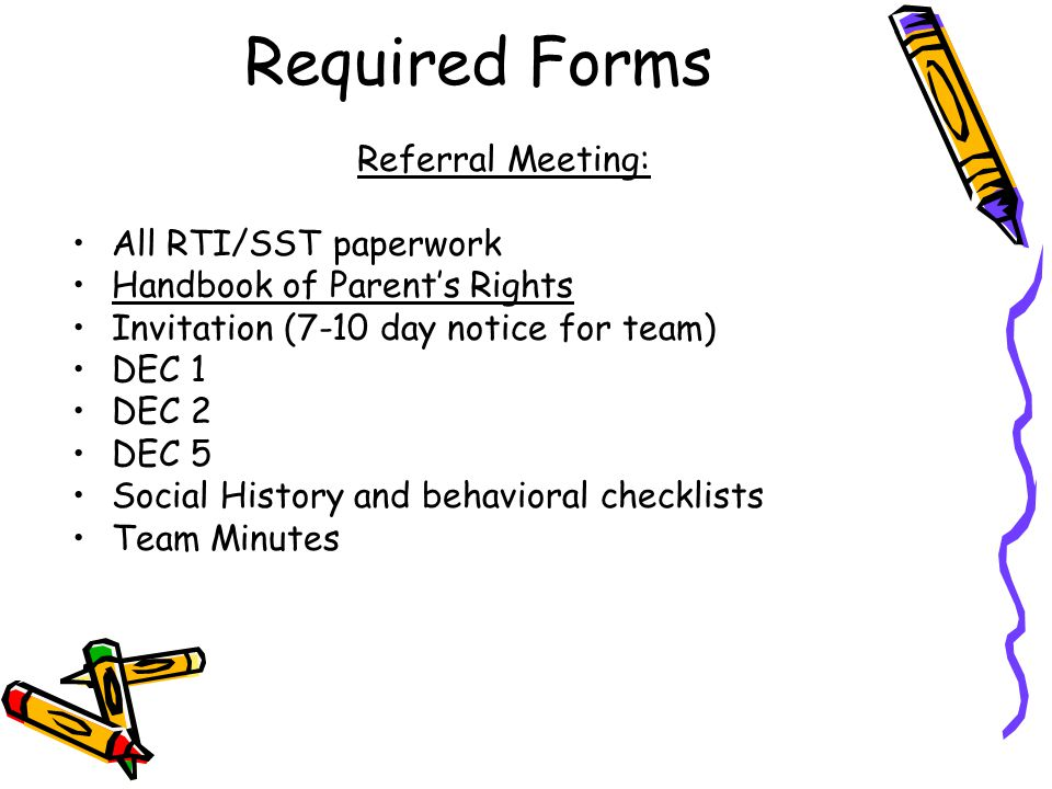 DEC 5 - PWN Referral meeting A DEC 5 is the form most used in litigation Parents have one year to contest a decision.