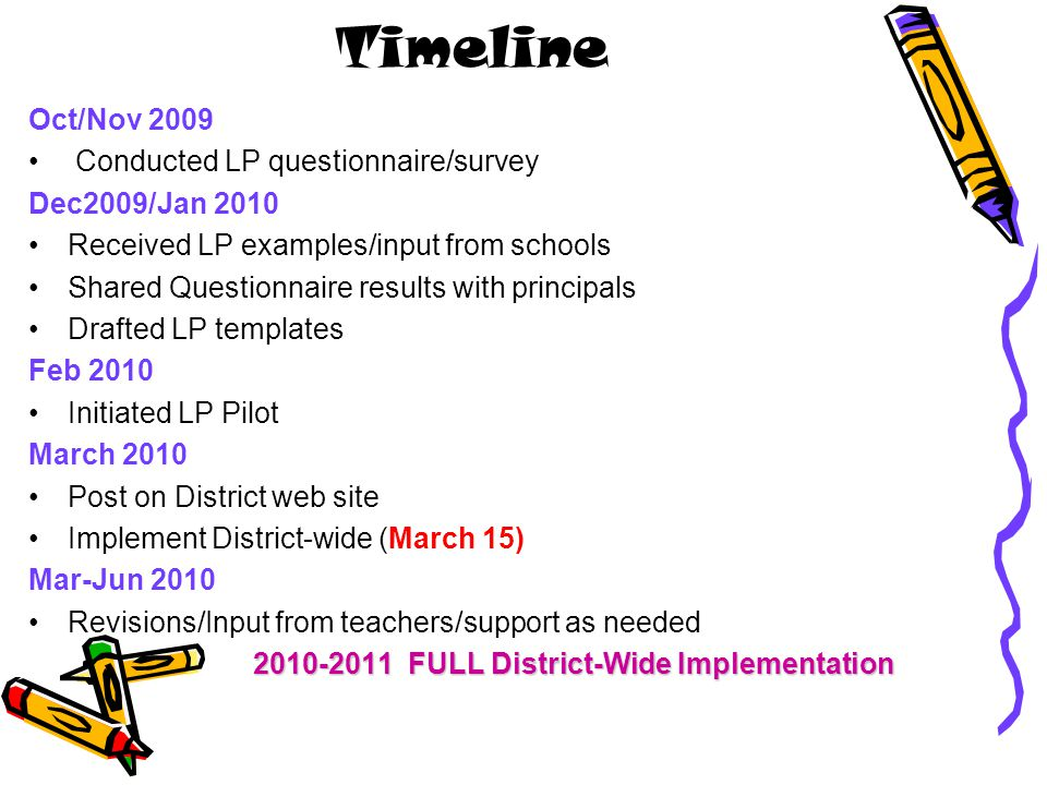 Timeline Oct/Nov 2009 Conducted LP questionnaire/survey Dec2009/Jan 2010 Received LP examples/input from schools Shared Questionnaire results with principals Drafted LP templates Feb 2010 Initiated LP Pilot March 2010 Post on District web site Implement District-wide (March 15) Mar-Jun 2010 Revisions/Input from teachers/support as needed 2010-2011 FULL District-Wide Implementation