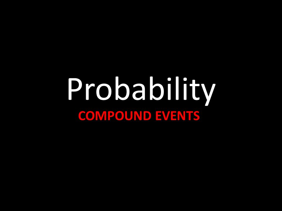 Probability COMPOUND EVENTS