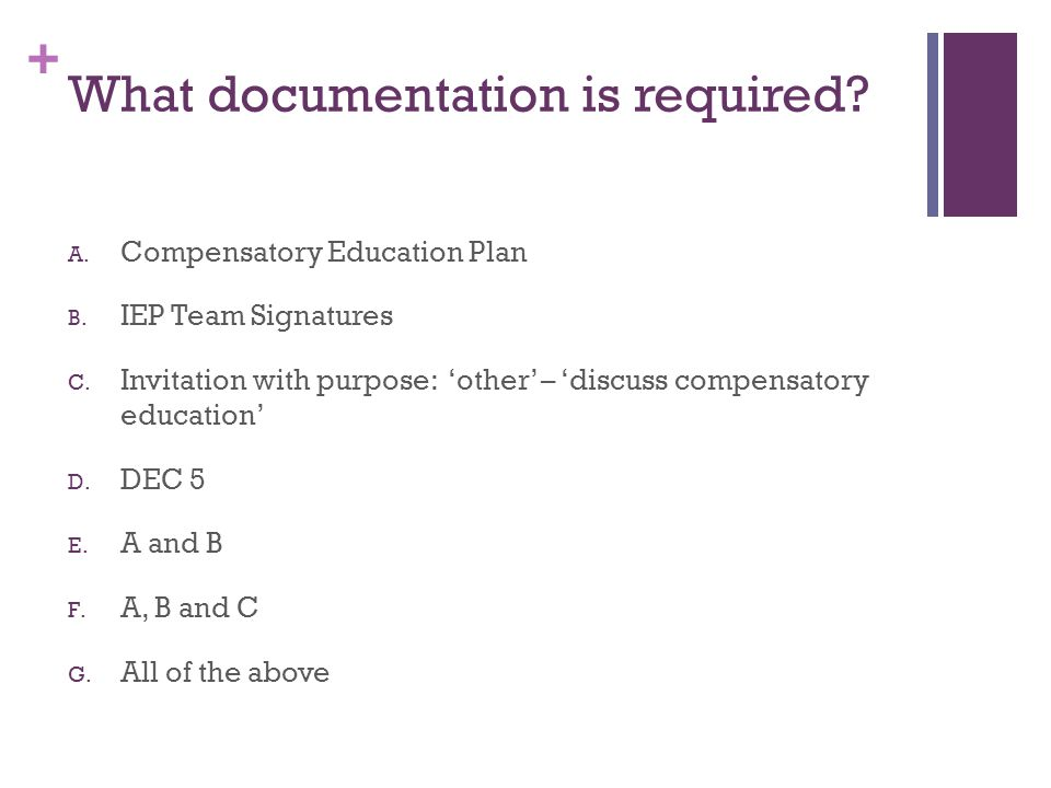 + What documentation is required. A. Compensatory Education Plan B.