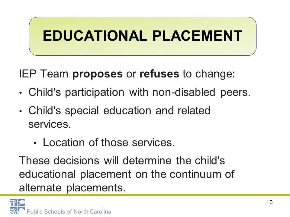 IEP Team proposes or refuses to change: Child's participation with non-disabled peers. Child's special education and related services. Location of tho