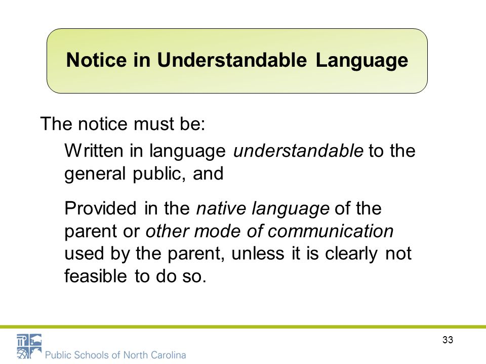 The notice must be: Written in language understandable to the general public, and Provided in the native language of the parent or other mode of commu