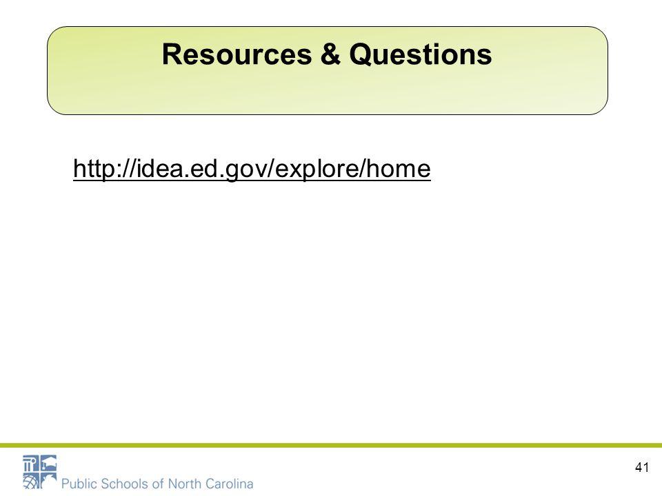 http://idea.ed.gov/explore/home 41 Resources & Questions