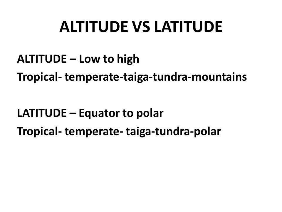 ALTITUDE VS LATITUDE ALTITUDE – Low to high Tropical- temperate-taiga-tundra-mountains LATITUDE – Equator to polar Tropical- temperate- taiga-tundra-p